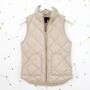 J Crew • Cream Down Filled Quilted Excursion Vest
